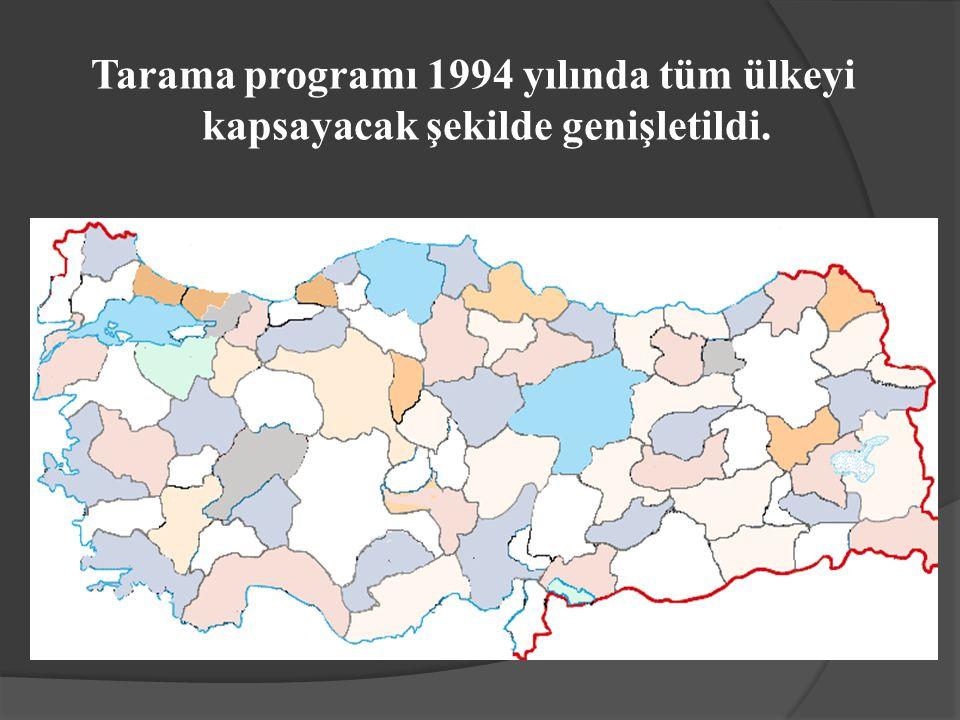 Tarama programı 1994 yılında tüm ülkeyi kapsayacak şekilde genişletildi.