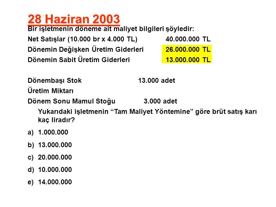 28 Haziran 2003 Bir işletmenin döneme ait maliyet bilgileri şöyledir: Net Satışlar (10.000 br x 4.000 TL)40.000.000 TL Dönemin Değişken Üretim Giderle