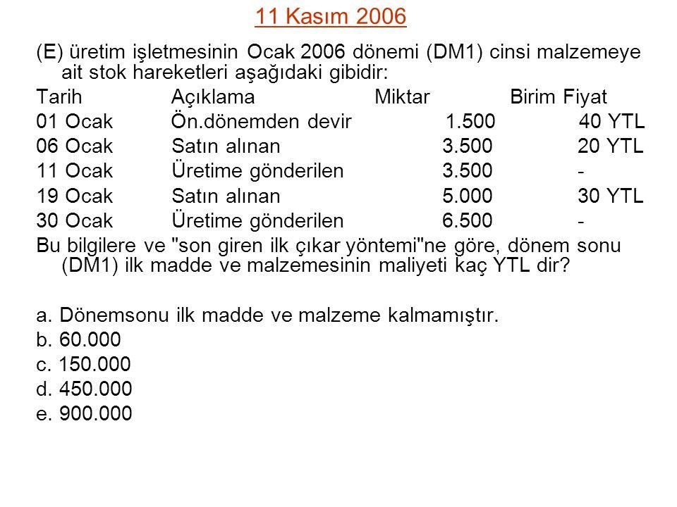 11 Kasım 2006 (E) üretim işletmesinin Ocak 2006 dönemi (DM1) cinsi malzemeye ait stok hareketleri aşağıdaki gibidir: TarihAçıklamaMiktarBirim Fiyat 01