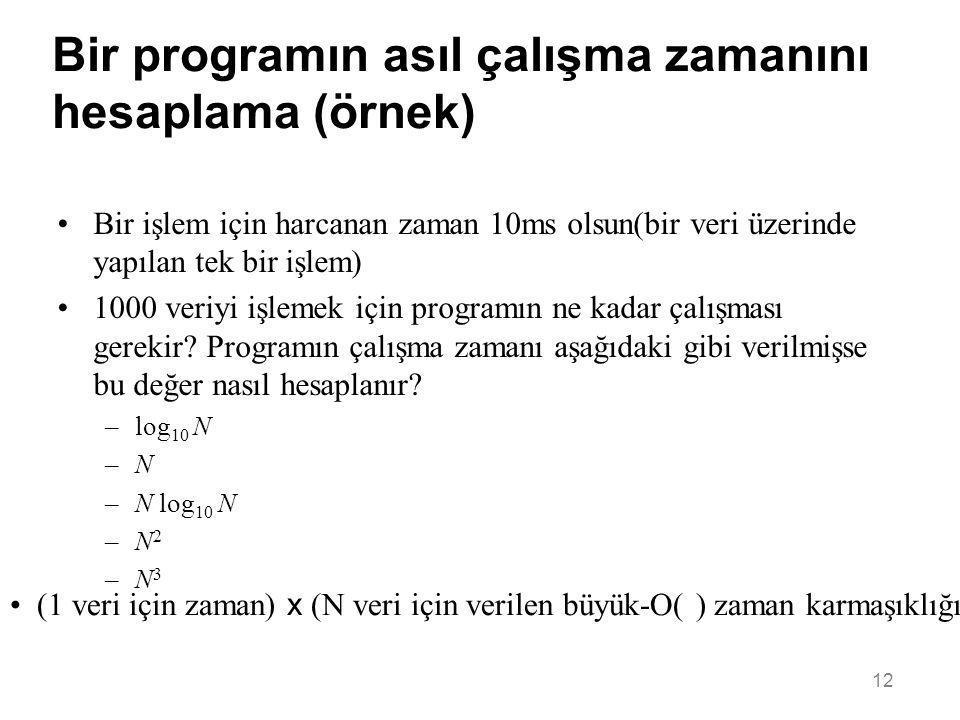 12 Bir programın asıl çalışma zamanını hesaplama (örnek) •Bir işlem için harcanan zaman 10ms olsun(bir veri üzerinde yapılan tek bir işlem) •1000 veri