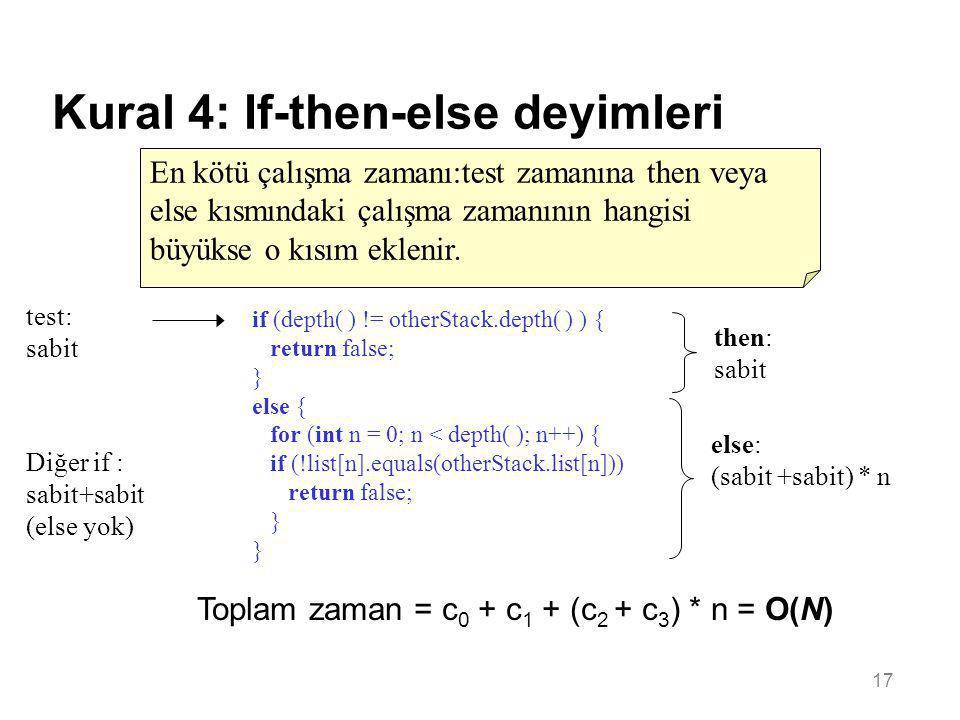 17 Kural 4: If-then-else deyimleri En kötü çalışma zamanı:test zamanına then veya else kısmındaki çalışma zamanının hangisi büyükse o kısım eklenir. i