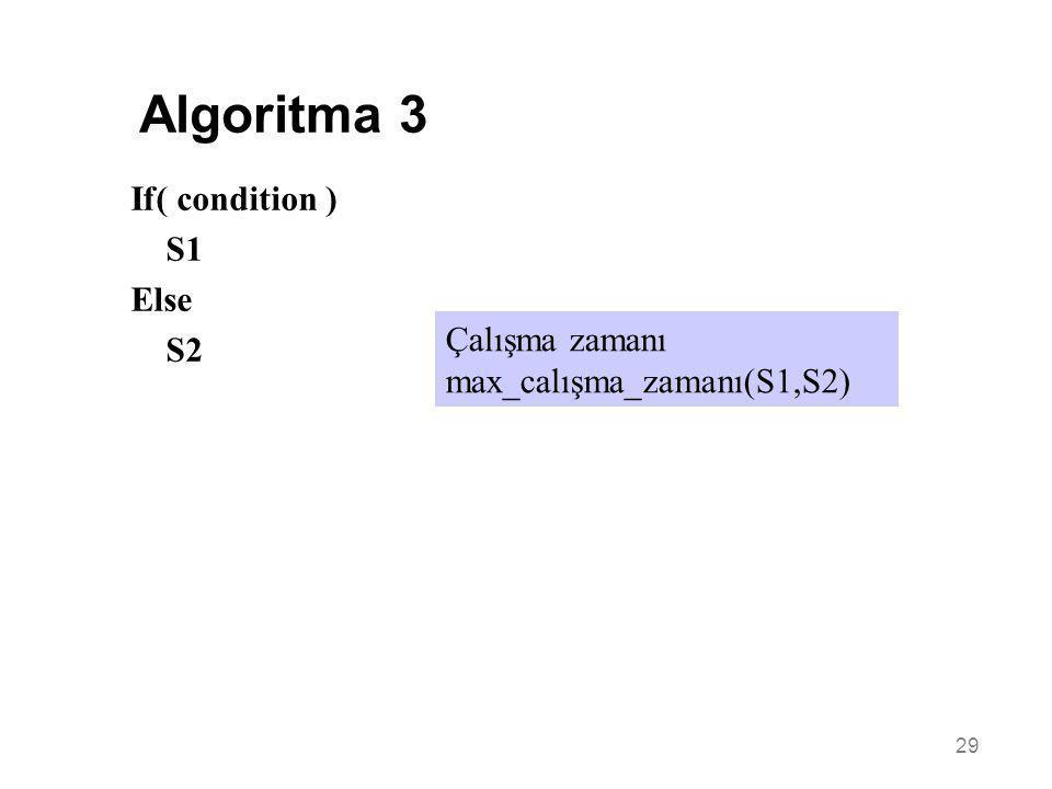 29 Çalışma zamanı max_calışma_zamanı(S1,S2) If( condition ) S1 Else S2 Algoritma 3