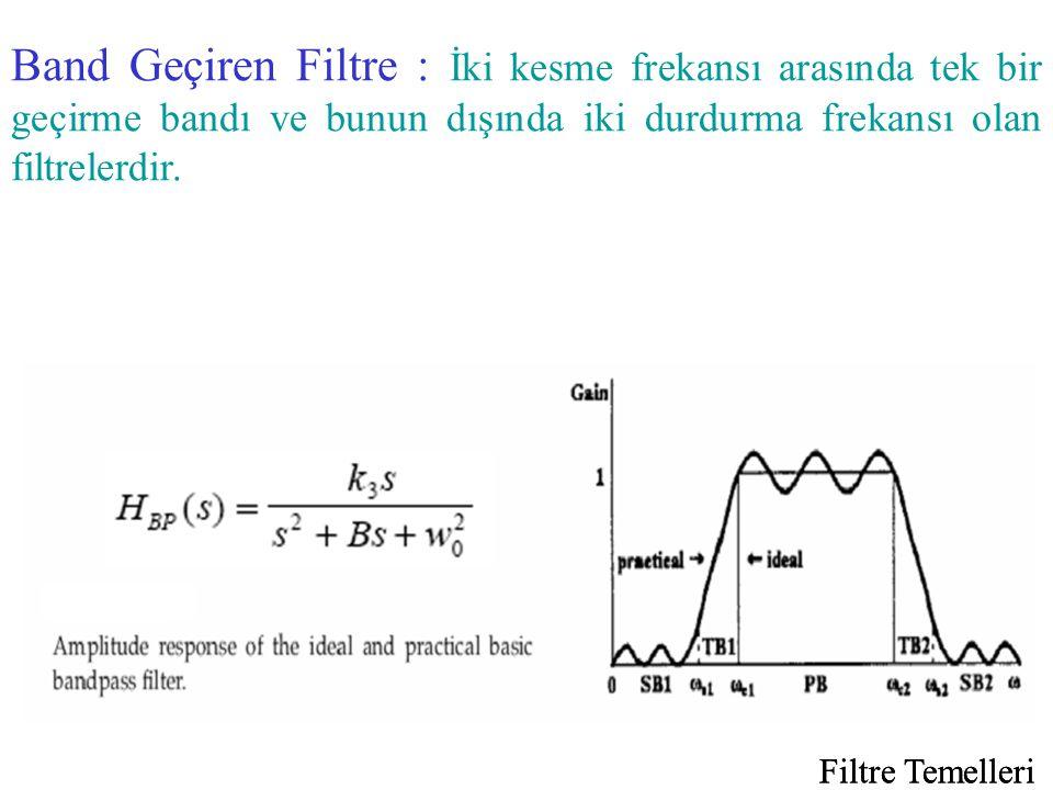 Filtre Temelleri Band Geçiren Filtre : İki kesme frekansı arasında tek bir geçirme bandı ve bunun dışında iki durdurma frekansı olan filtrelerdir.