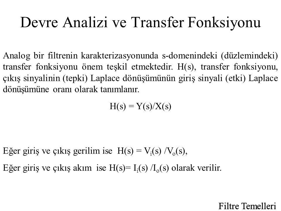 Devre Analizi ve Transfer Fonksiyonu Analog bir filtrenin karakterizasyonunda s-domenindeki (düzlemindeki) transfer fonksiyonu önem teşkil etmektedir.