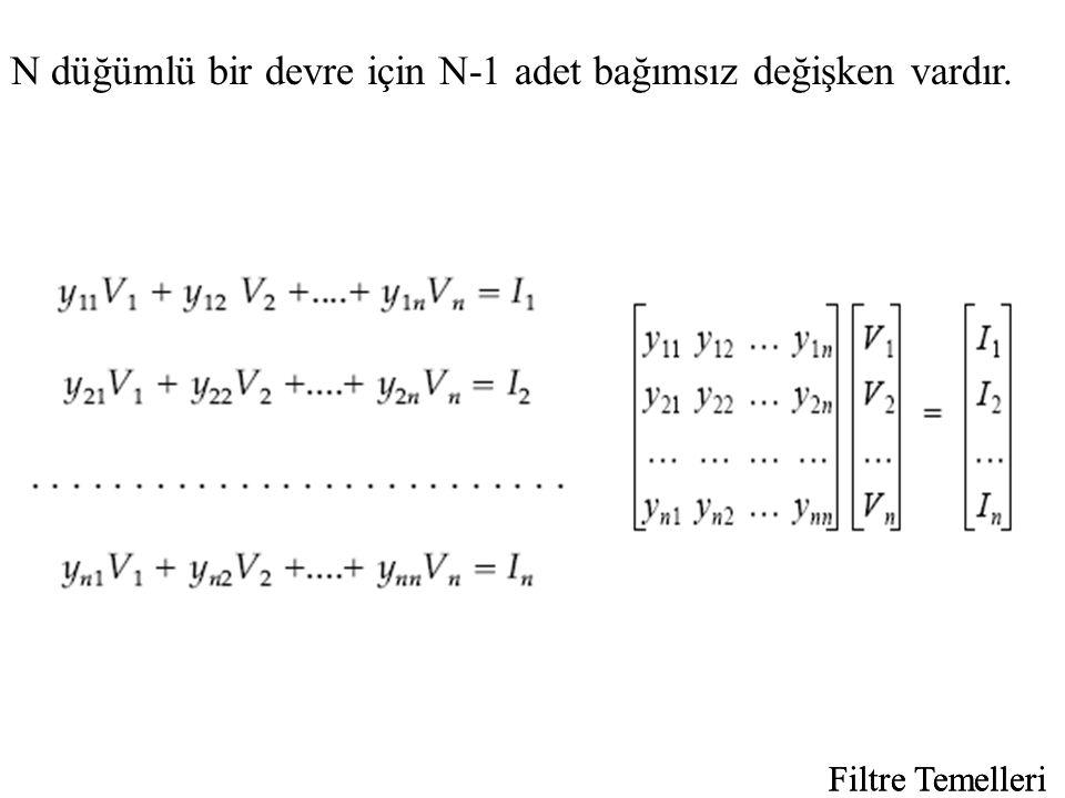 N düğümlü bir devre için N-1 adet bağımsız değişken vardır. Filtre Temelleri