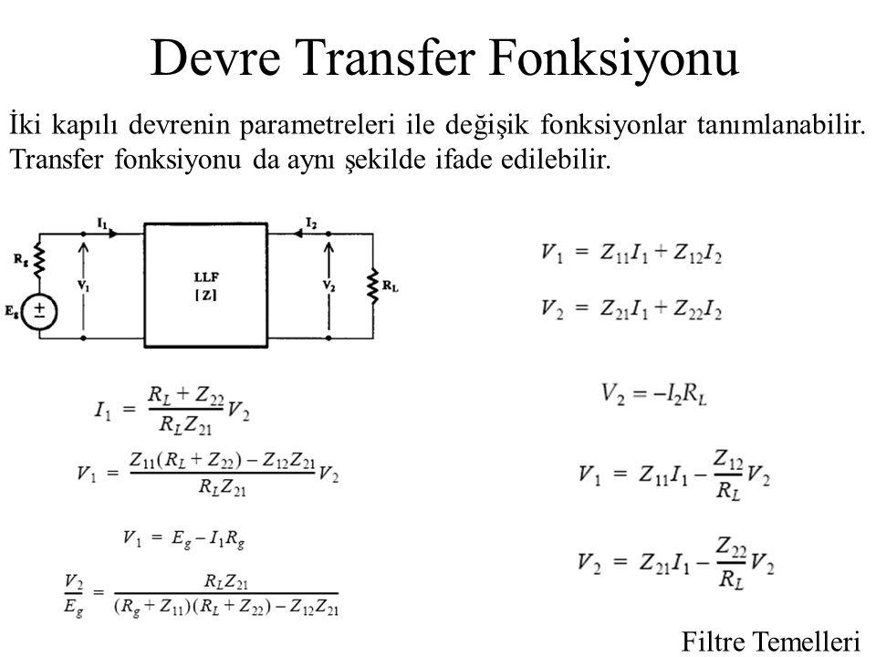 Devre Transfer Fonksiyonu İki kapılı devrenin parametreleri ile değişik fonksiyonlar tanımlanabilir.