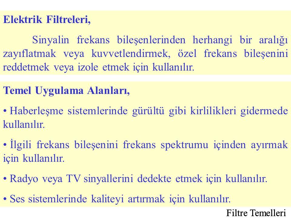 Filtre Temelleri Çoğunlukla filtreler tasarlanırken çıkış geriliminin giriş gerilimine oranı olan transfer fonksiyonu kullanır.