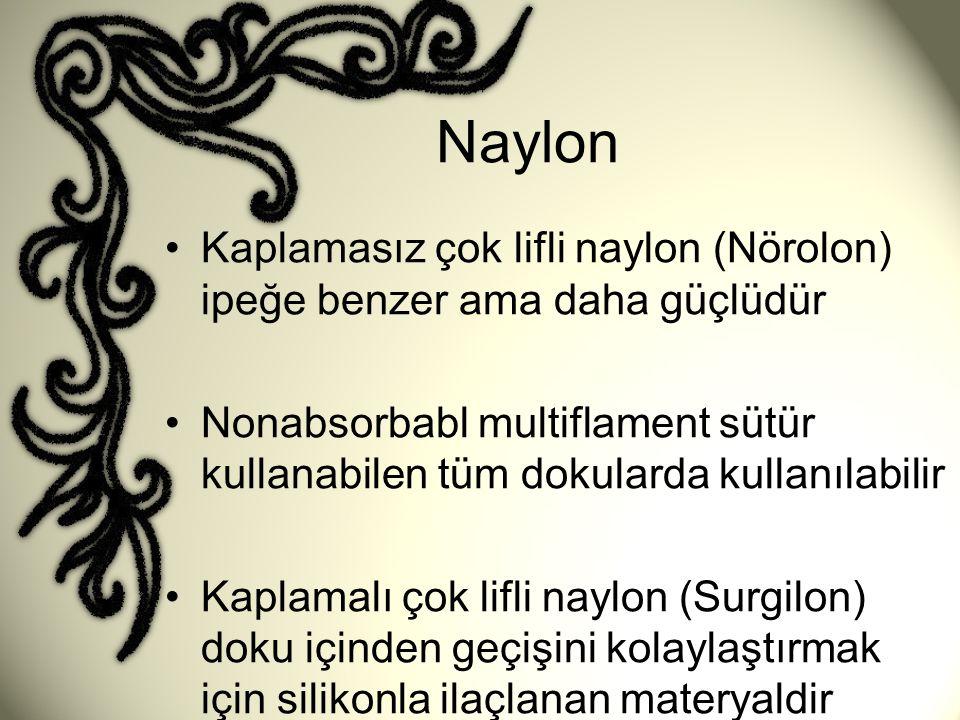Naylon •Kaplamasız çok lifli naylon (Nörolon) ipeğe benzer ama daha güçlüdür •Nonabsorbabl multiflament sütür kullanabilen tüm dokularda kullanılabili