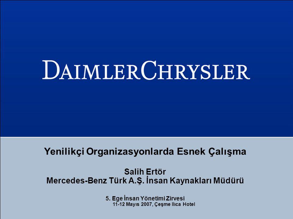 Yenilikçi Organizasyonlarda Esnek Çalışma Salih Ertör Mercedes-Benz Türk A.Ş. İnsan Kaynakları Müdürü 5. Ege İnsan Yönetimi Zirvesi 11-12 Mayıs 2007,