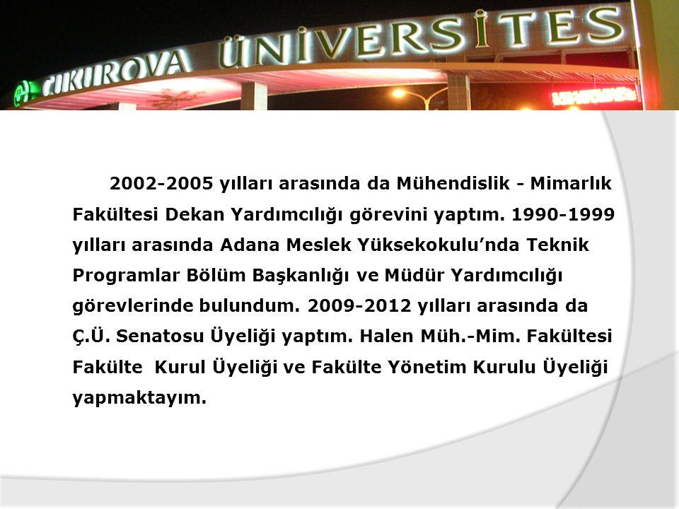 1963 doğumlu olup, 1985 yılında Araştırma Görevlisi olarak başladığım Mühendislik - Mimarlık Fakültesinde 27 senedir, Çukurova Üniversitesi'nin bir me