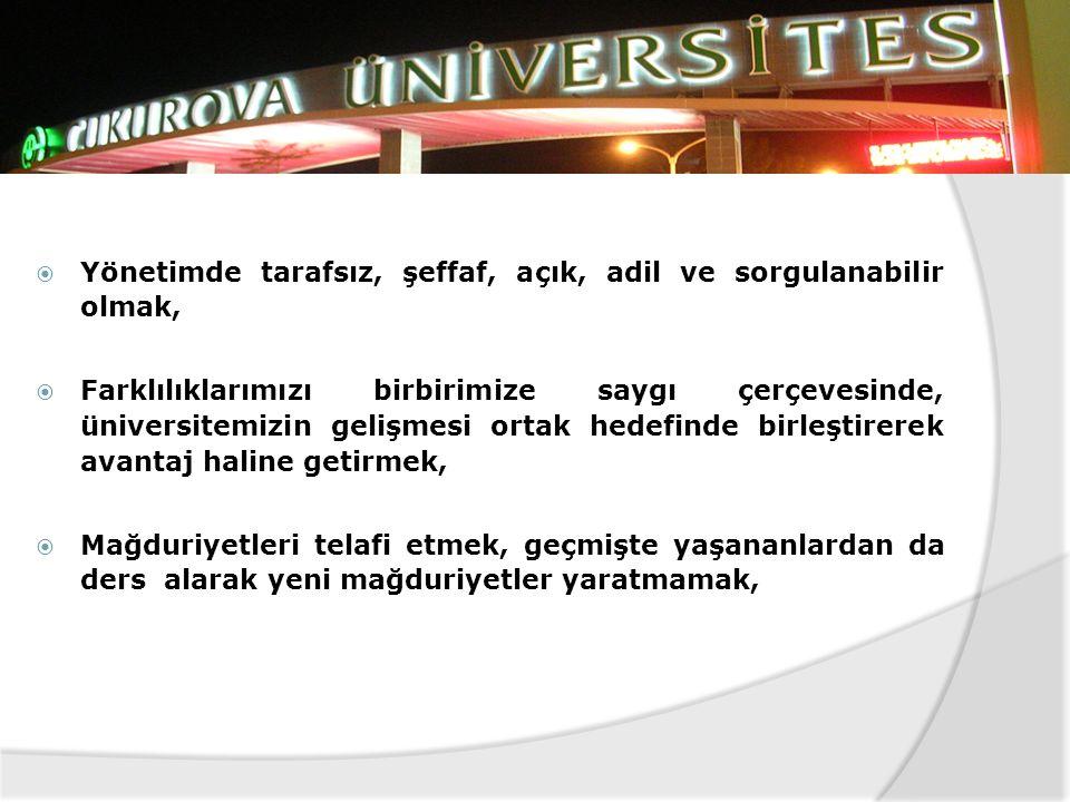  Yönetimde kabul görmüş evrensel değerlerin yanında insan odaklı bir üniversite oluşturmak,  Üniversitenin tüm elemanlarının her türlü hakkını koruy