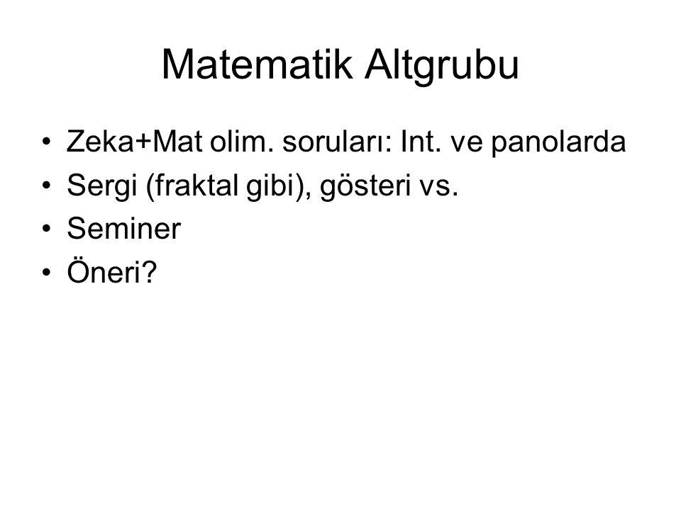 Matematik Altgrubu •Zeka+Mat olim.soruları: Int. ve panolarda •Sergi (fraktal gibi), gösteri vs.