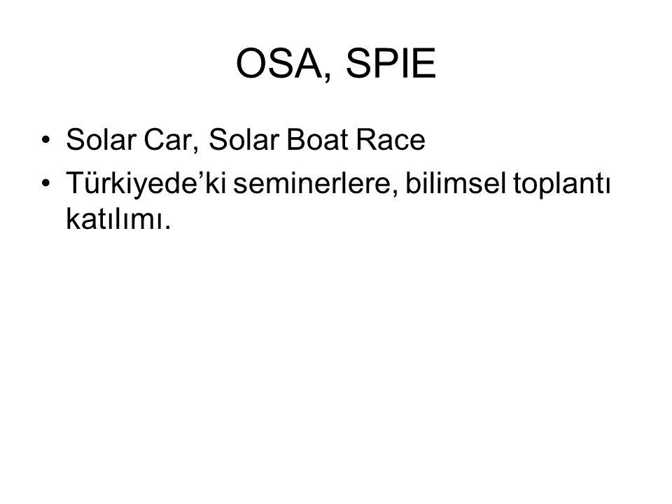 OSA, SPIE •Solar Car, Solar Boat Race •Türkiyede'ki seminerlere, bilimsel toplantı katılımı.