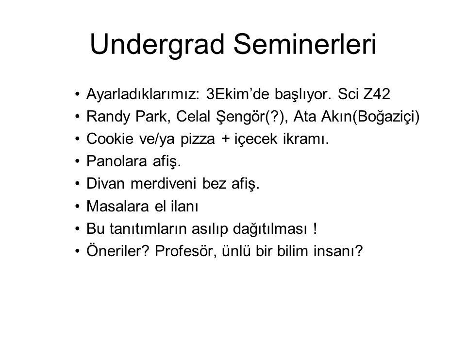Undergrad Seminerleri •Ayarladıklarımız: 3Ekim'de başlıyor.