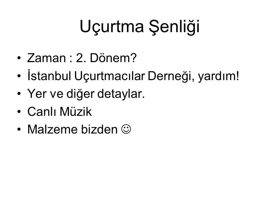 Uçurtma Şenliği •Zaman : 2.Dönem. •İstanbul Uçurtmacılar Derneği, yardım.