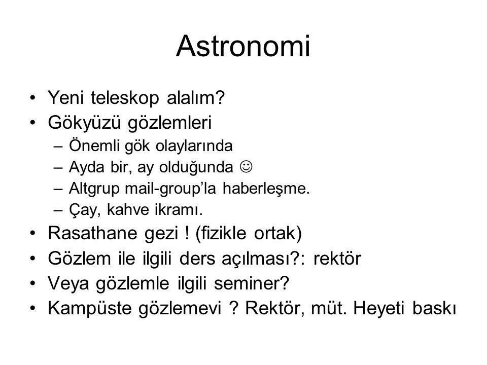 Astronomi •Yeni teleskop alalım.