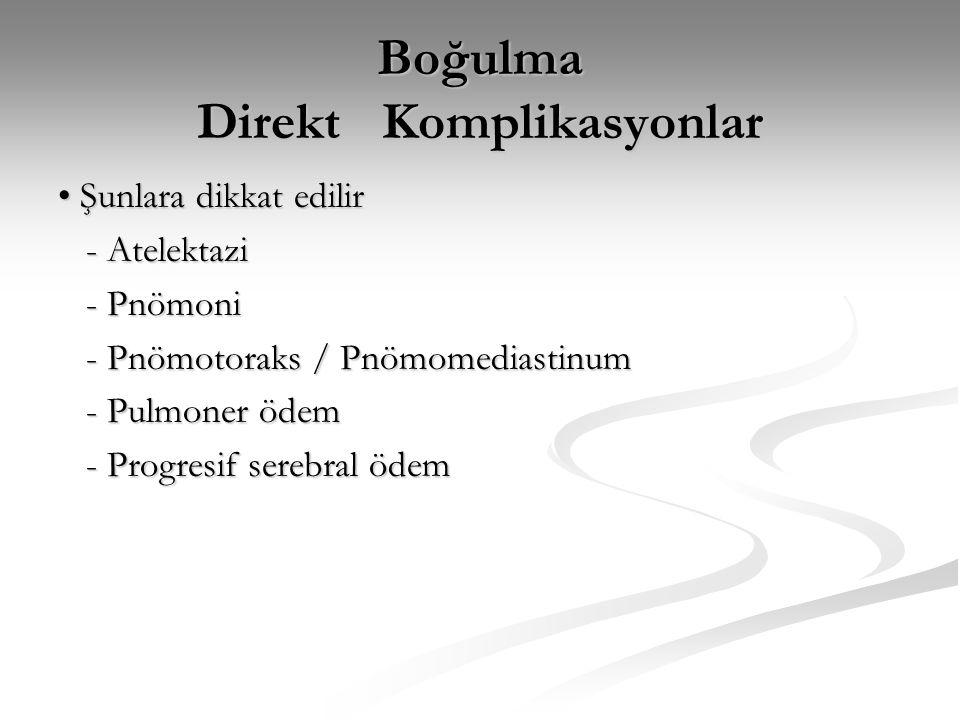 Boğulma Solunum Dışı Komplikasyonlar • Şunlara dikkat edilir: - Metabolik asidoz - Metabolik asidoz - Böbrek yetmezliği - Böbrek yetmezliği - Barsak mukoza nekrozu (GI Kanama) - Barsak mukoza nekrozu (GI Kanama) - DIC - DIC - Kardiyak output azalması - Kardiyak output azalması - Karaciğer yetmezliği (nadir) - Karaciğer yetmezliği (nadir)