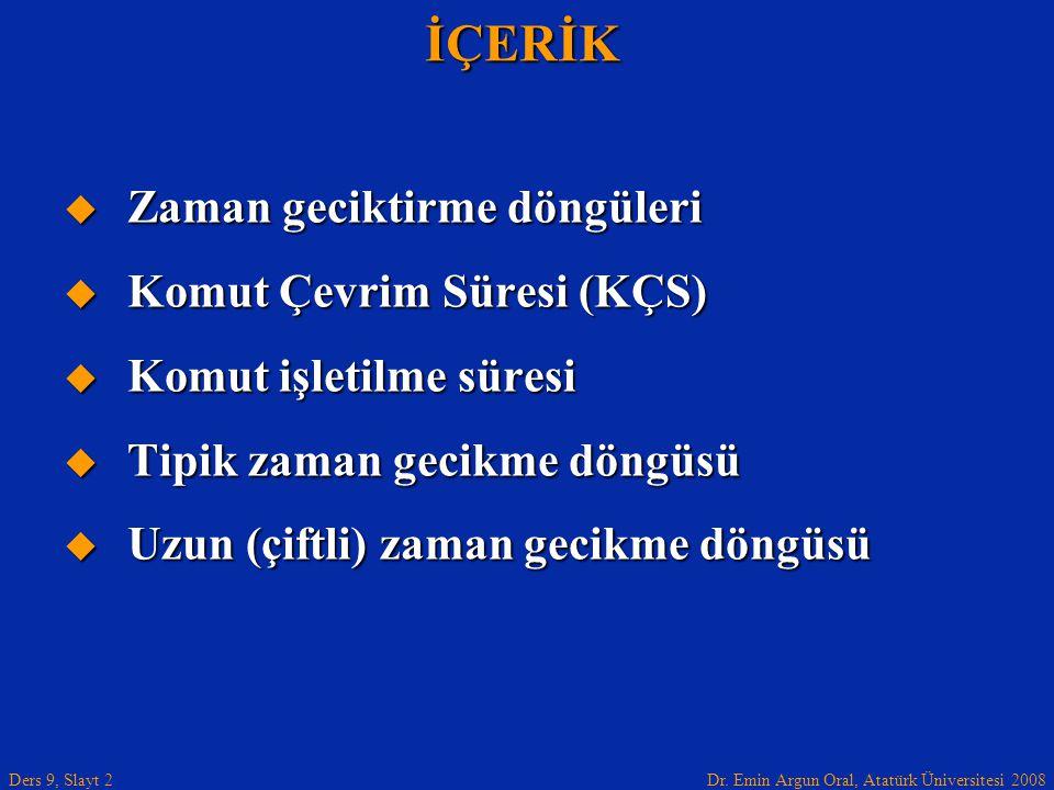 Dr. Emin Argun Oral, Atatürk Üniversitesi 2008 Ders 9, Slayt 2İÇERİK  Zaman geciktirme döngüleri  Komut Çevrim Süresi (KÇS)  Komut işletilme süresi