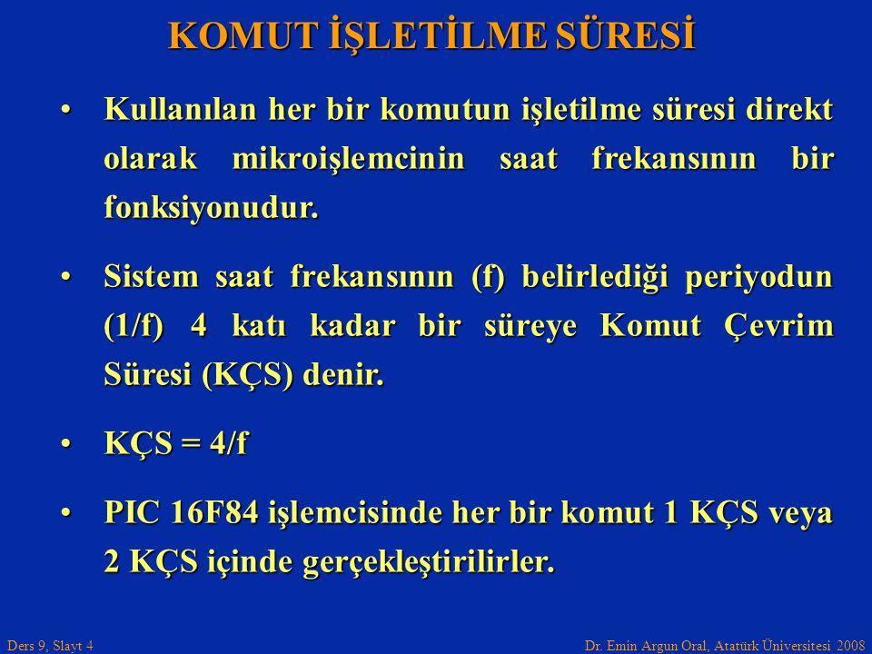 Dr. Emin Argun Oral, Atatürk Üniversitesi 2008 Ders 9, Slayt 4 KOMUT İŞLETİLME SÜRESİ •Kullanılan her bir komutun işletilme süresi direkt olarak mikro