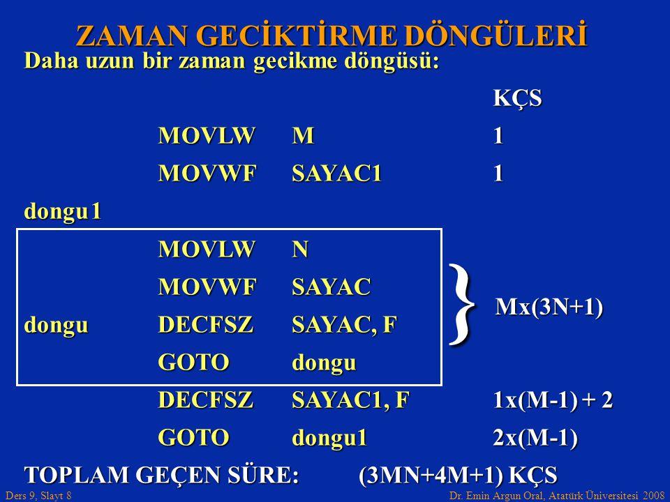 Dr. Emin Argun Oral, Atatürk Üniversitesi 2008 Ders 9, Slayt 8 ZAMAN GECİKTİRME DÖNGÜLERİ Daha uzun bir zaman gecikme döngüsü: KÇS MOVLWM1 MOVWFSAYAC1