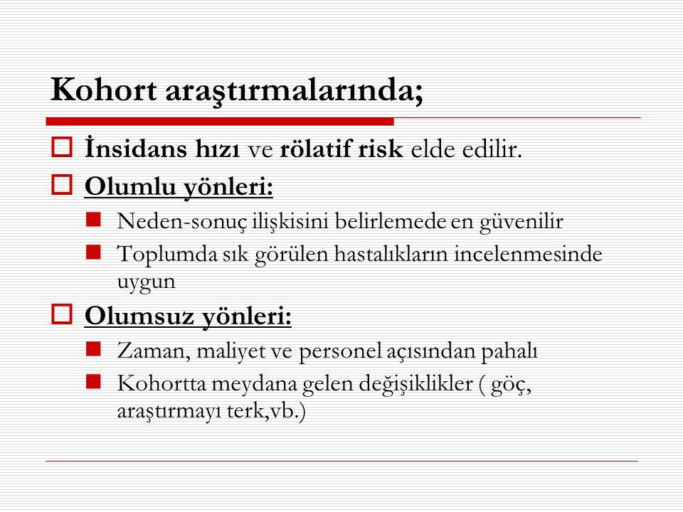 Kohort araştırmalarında;  İnsidans hızı ve rölatif risk elde edilir.  Olumlu yönleri:  Neden-sonuç ilişkisini belirlemede en güvenilir  Toplumda s