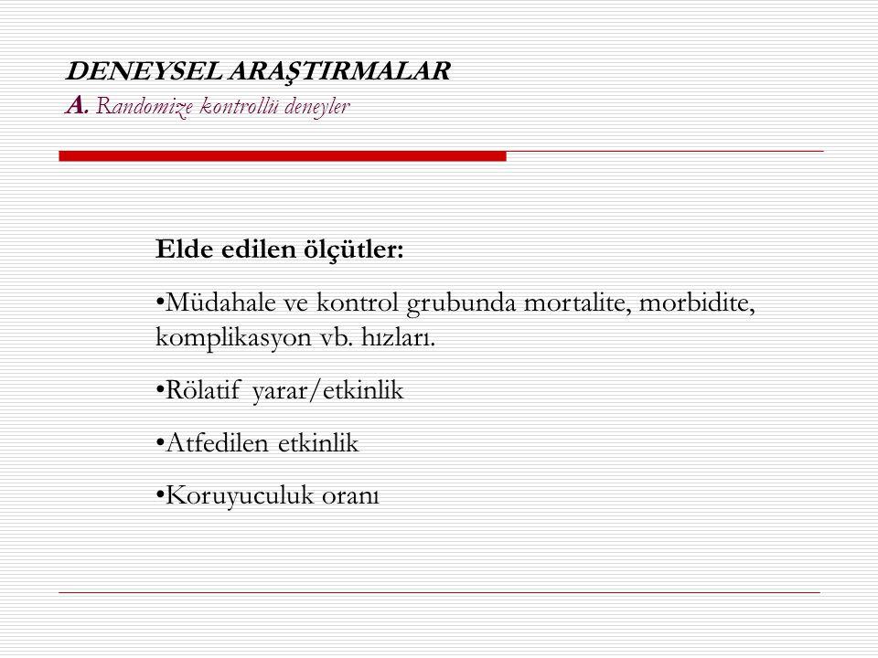 DENEYSEL ARAŞTIRMALAR A. Randomize kontrollü deneyler Elde edilen ölçütler: •Müdahale ve kontrol grubunda mortalite, morbidite, komplikasyon vb. hızla