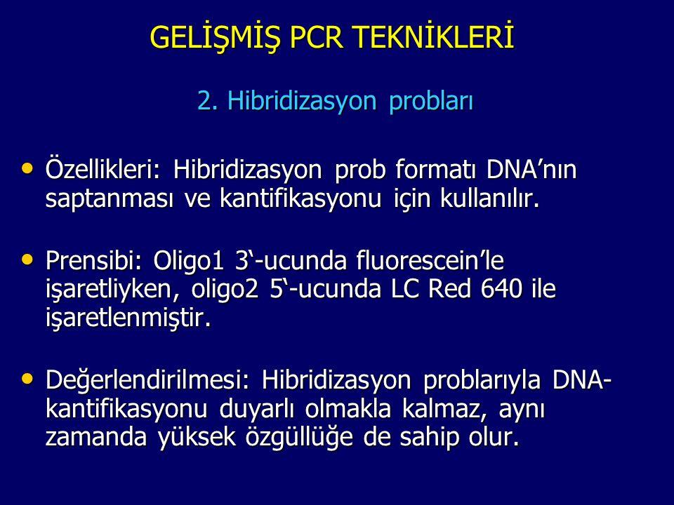 GELİŞMİŞ PCR TEKNİKLERİ 2. Hibridizasyon probları • Özellikleri: Hibridizasyon prob formatı DNA'nın saptanması ve kantifikasyonu için kullanılır. • Pr