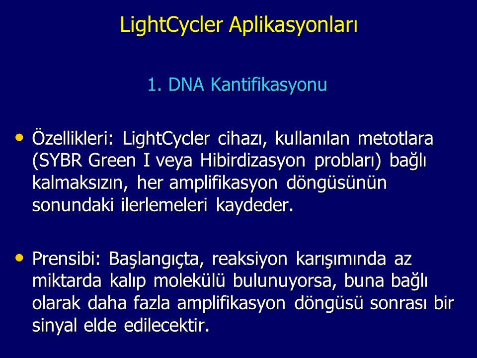 LightCycler Aplikasyonları 1. DNA Kantifikasyonu • Özellikleri: LightCycler cihazı, kullanılan metotlara (SYBR Green I veya Hibirdizasyon probları) ba