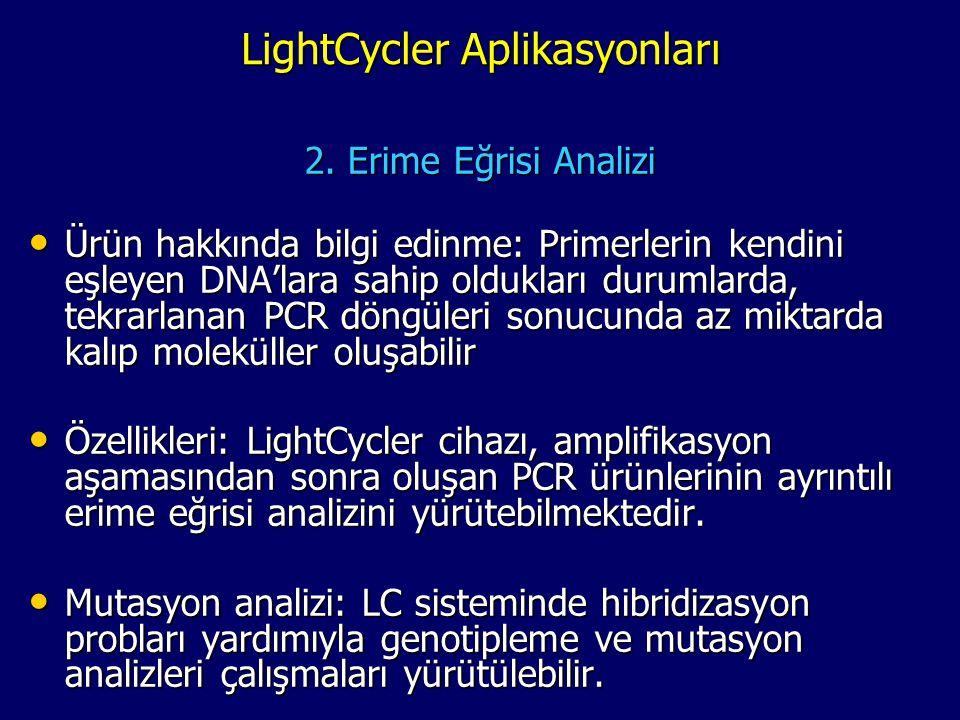 LightCycler Aplikasyonları 2. Erime Eğrisi Analizi • Ürün hakkında bilgi edinme: Primerlerin kendini eşleyen DNA'lara sahip oldukları durumlarda, tekr