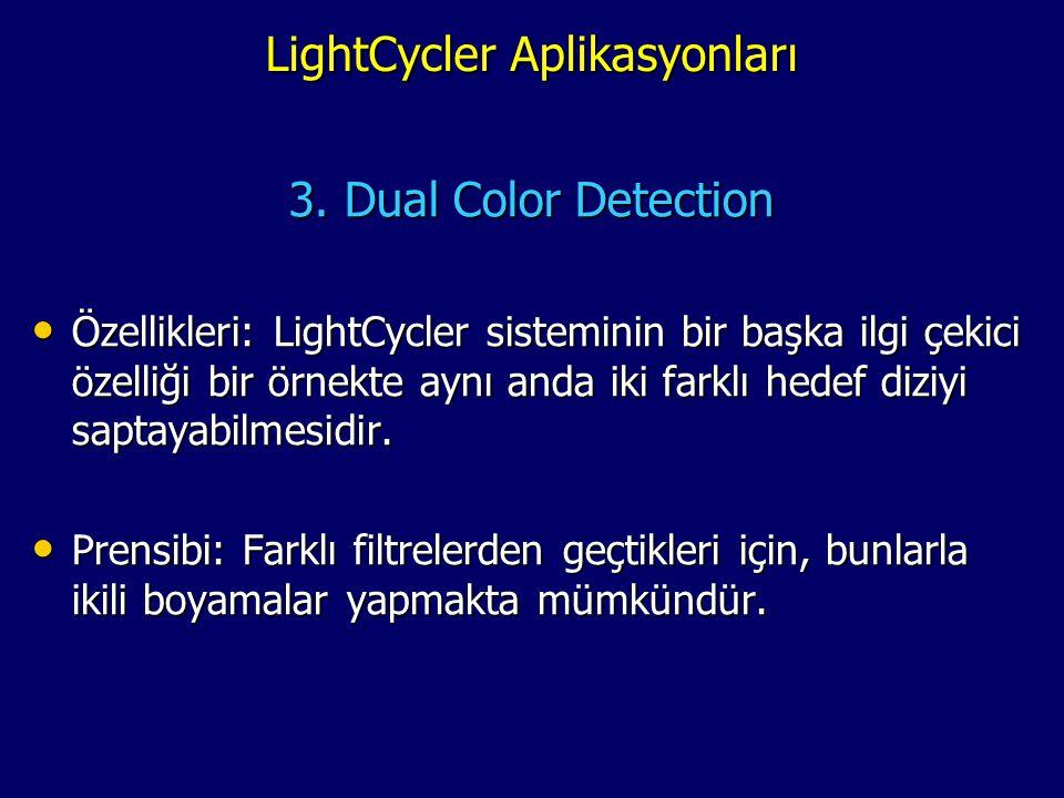 LightCycler Aplikasyonları LightCycler Aplikasyonları 3. Dual Color Detection • Özellikleri: LightCycler sisteminin bir başka ilgi çekici özelliği bir