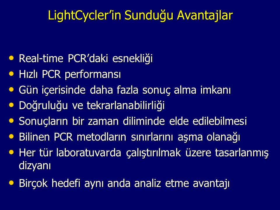 LightCycler'in Sunduğu Avantajlar • Real-time PCR'daki esnekliği • Hızlı PCR performansı • Gün içerisinde daha fazla sonuç alma imkanı • Doğruluğu ve