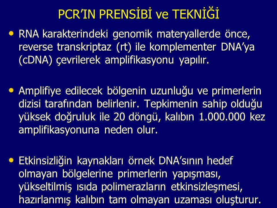 PCR'IN PRENSİBİ ve TEKNİĞİ • RNA karakterindeki genomik materyallerde önce, reverse transkriptaz (rt) ile komplementer DNA'ya (cDNA) çevrilerek amplif