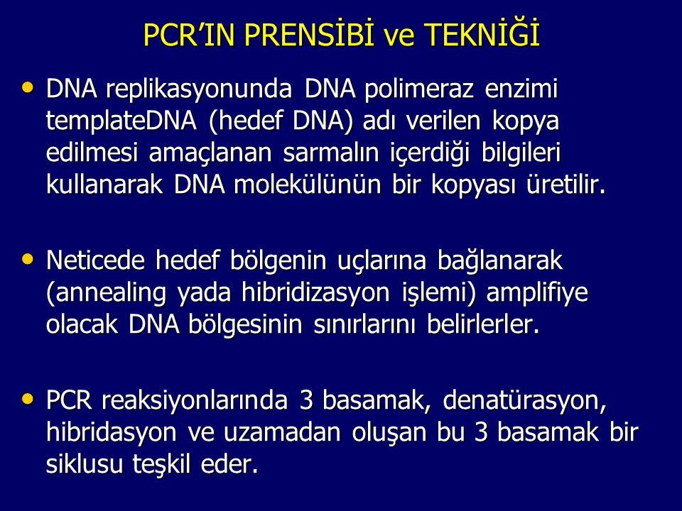PCR'IN PRENSİBİ ve TEKNİĞİ • DNA replikasyonunda DNA polimeraz enzimi templateDNA (hedef DNA) adı verilen kopya edilmesi amaçlanan sarmalın içerdiği b
