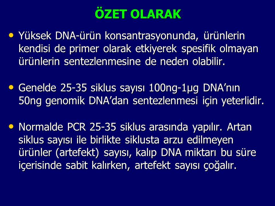 ÖZET OLARAK • Yüksek DNA-ürün konsantrasyonunda, ürünlerin kendisi de primer olarak etkiyerek spesifik olmayan ürünlerin sentezlenmesine de neden olab