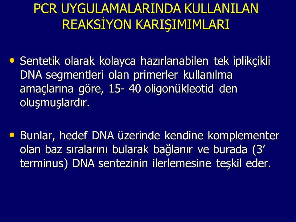 PCR UYGULAMALARINDA KULLANILAN REAKSİYON KARIŞIMIMLARI • Sentetik olarak kolayca hazırlanabilen tek iplikçikli DNA segmentleri olan primerler kullanıl