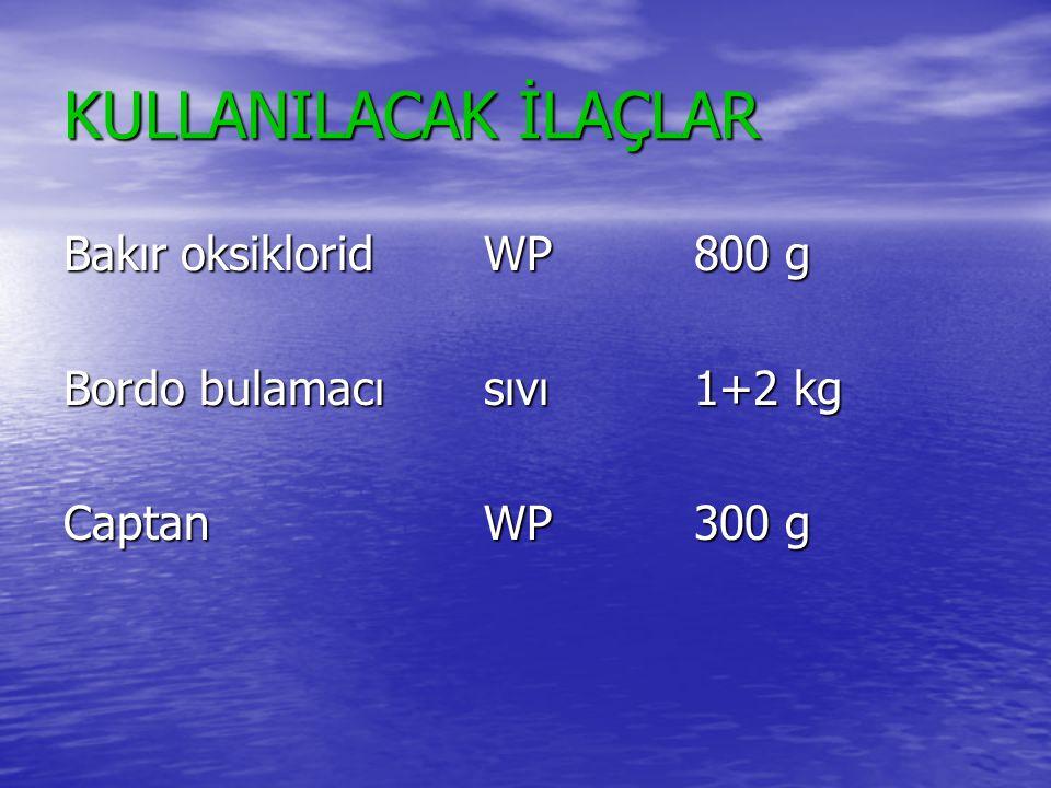 KULLANILACAK İLAÇLAR Bakır oksikloridWP800 g Bordo bulamacısıvı1+2 kg CaptanWP300 g