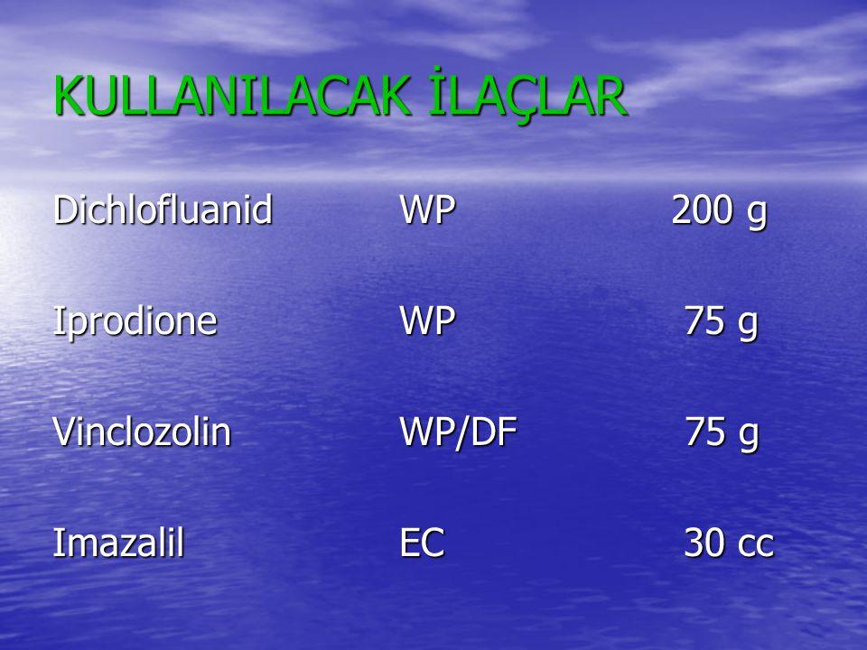KULLANILACAK İLAÇLAR DichlofluanidWP 200 g IprodioneWP 75 g VinclozolinWP/DF 75 g ImazalilEC 30 cc