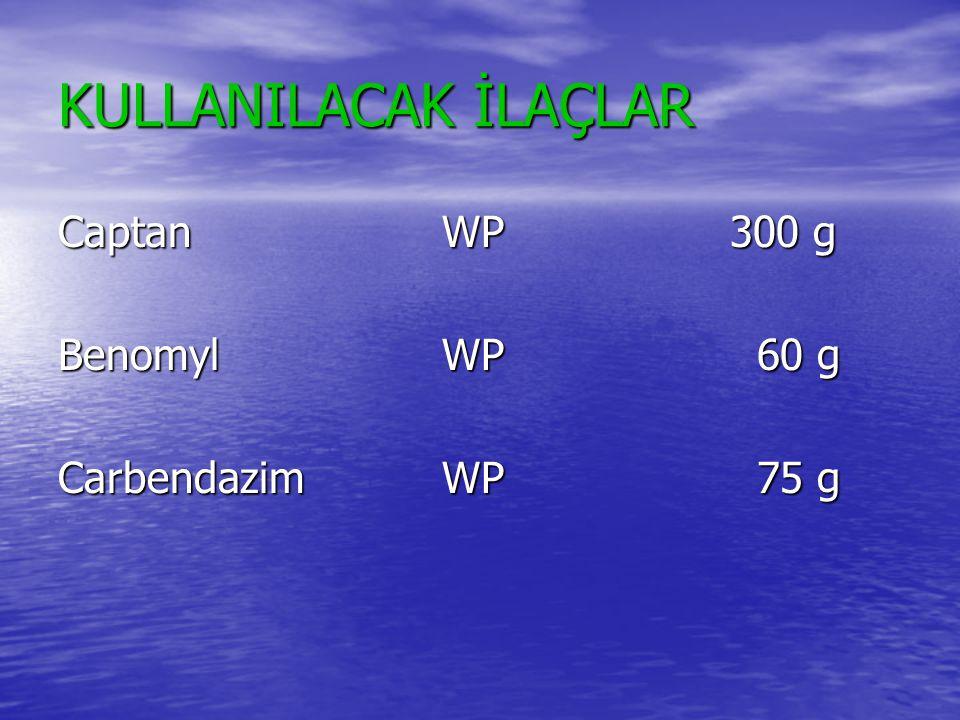 KULLANILACAK İLAÇLAR CaptanWP300 g BenomylWP 60 g CarbendazimWP 75 g