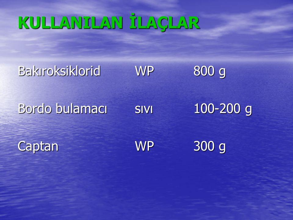 KULLANILAN İLAÇLAR BakıroksikloridWP800 g Bordo bulamacısıvı100-200 g CaptanWP300 g