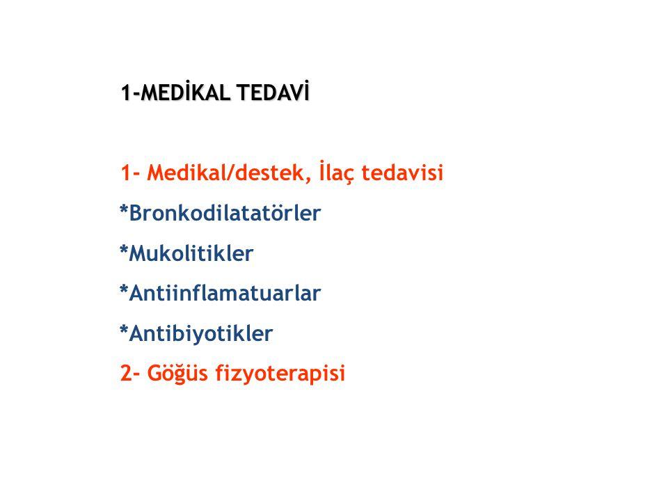 1-MEDİKAL TEDAVİ 1-MEDİKAL TEDAVİ 1- Medikal/destek, İlaç tedavisi *Bronkodilatatörler *Mukolitikler *Antiinflamatuarlar *Antibiyotikler 2- Göğüs fizy