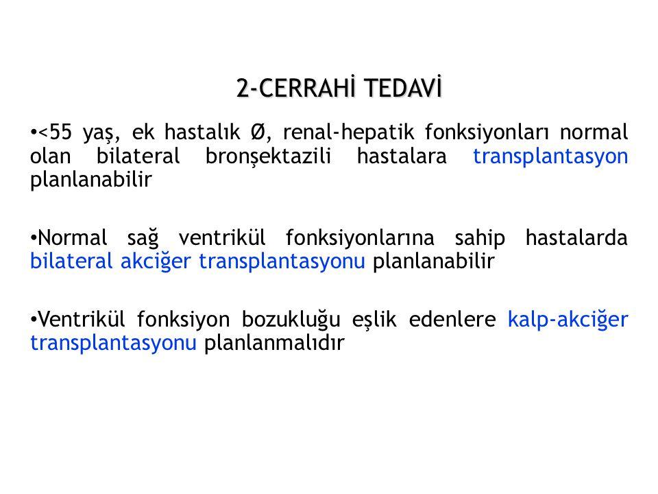 2-CERRAHİ TEDAVİ • <55 yaş, ek hastalık Ø, renal-hepatik fonksiyonları normal olan bilateral bronşektazili hastalara transplantasyon planlanabilir • N