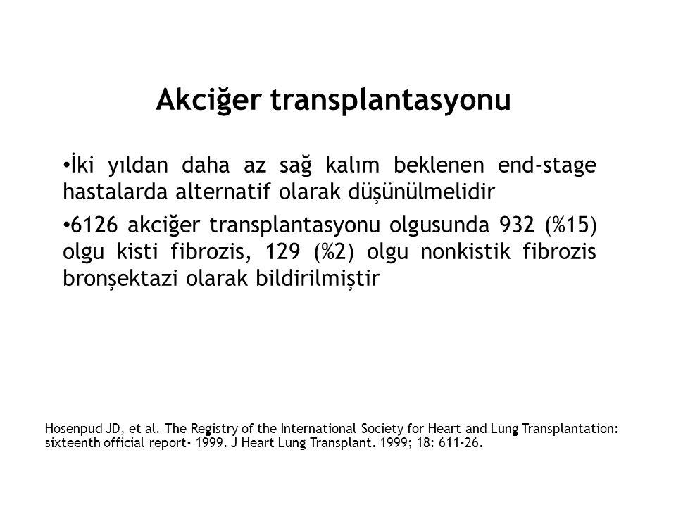Akciğer transplantasyonu • İki yıldan daha az sağ kalım beklenen end-stage hastalarda alternatif olarak düşünülmelidir • 6126 akciğer transplantasyonu