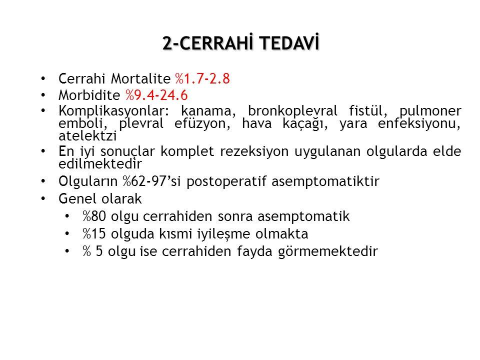 2-CERRAHİ TEDAVİ 2-CERRAHİ TEDAVİ • Cerrahi Mortalite %1.7-2.8 • Morbidite %9.4-24.6 • Komplikasyonlar: kanama, bronkoplevral fistül, pulmoner emboli,