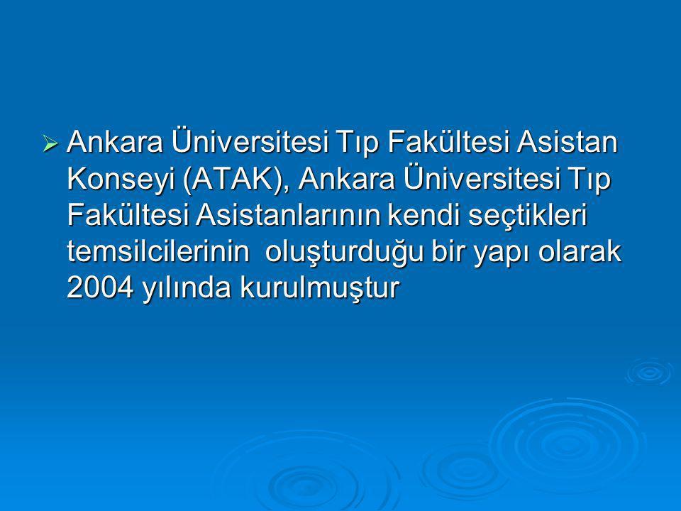  Ankara Üniversitesi Tıp Fakültesi Asistan Konseyi (ATAK), Ankara Üniversitesi Tıp Fakültesi Asistanlarının kendi seçtikleri temsilcilerinin oluşturduğu bir yapı olarak 2004 yılında kurulmuştur