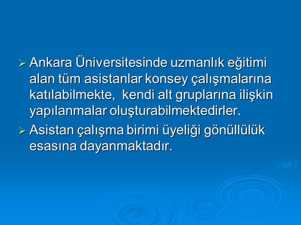  Ankara Üniversitesinde uzmanlık eğitimi alan tüm asistanlar konsey çalışmalarına katılabilmekte, kendi alt gruplarına ilişkin yapılanmalar oluşturabilmektedirler.