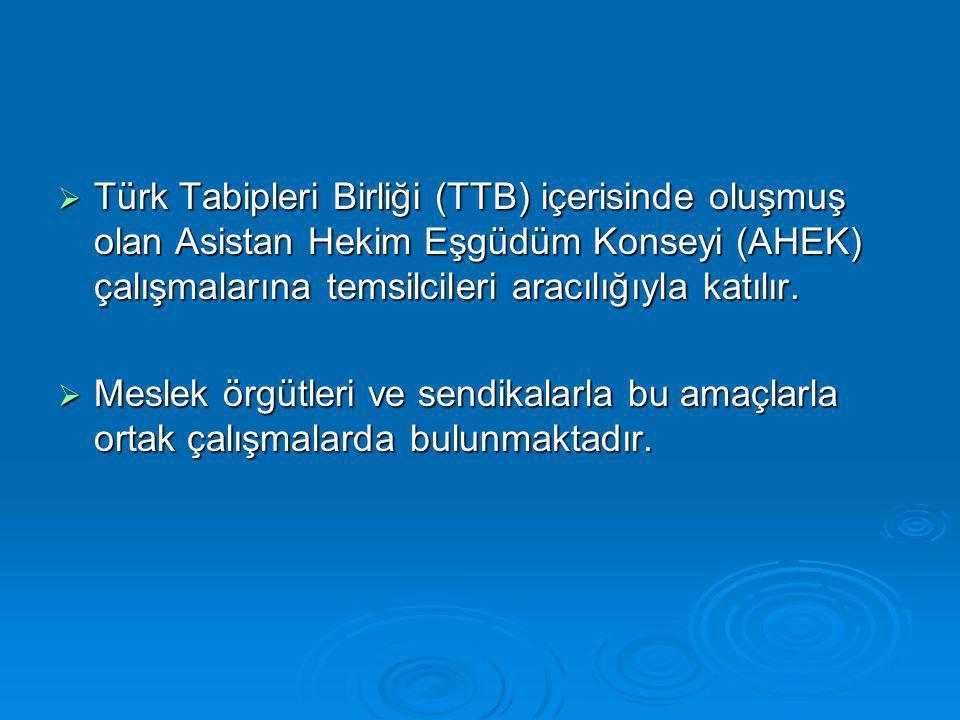  Türk Tabipleri Birliği (TTB) içerisinde oluşmuş olan Asistan Hekim Eşgüdüm Konseyi (AHEK) çalışmalarına temsilcileri aracılığıyla katılır.