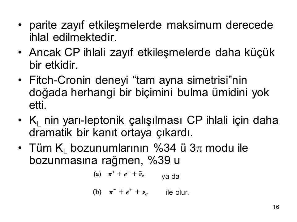 16 •parite zayıf etkileşmelerde maksimum derecede ihlal edilmektedir. •Ancak CP ihlali zayıf etkileşmelerde daha küçük bir etkidir. •Fitch-Cronin dene