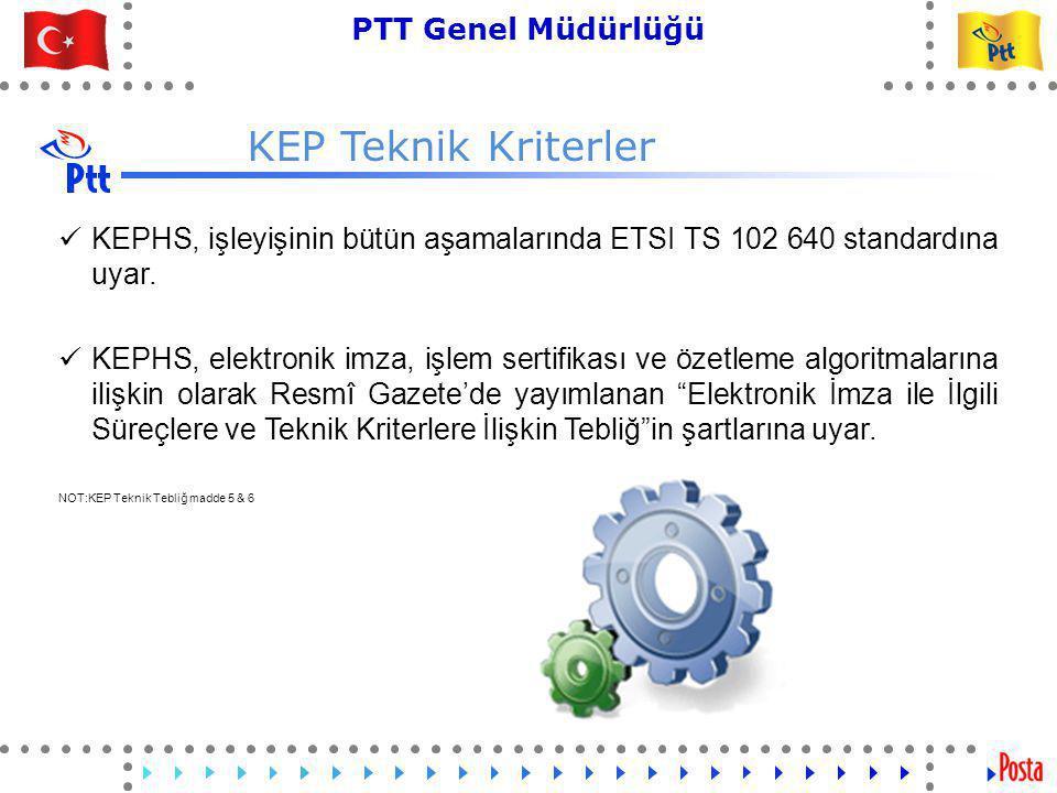 26 PTT Genel Müdürlüğü Teknik İşler ve Otomasyon Dairesi Başkanlığı KEP Teknik Kriterler  KEPHS, işleyişinin bütün aşamalarında ETSI TS 102 640 standardına uyar.