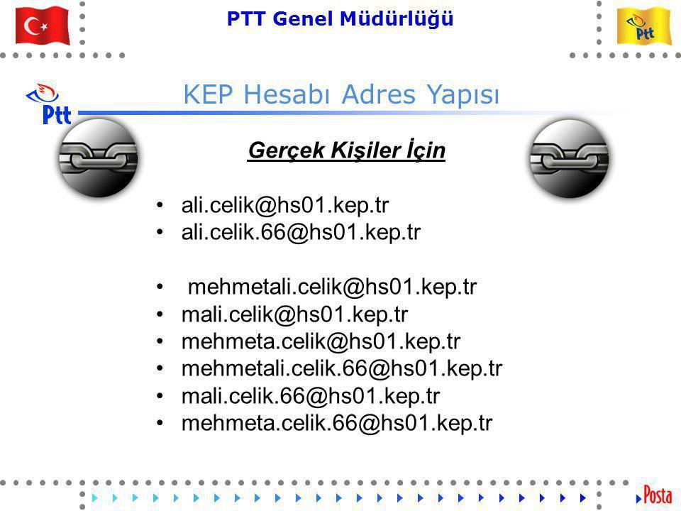 33 PTT Genel Müdürlüğü Teknik İşler ve Otomasyon Dairesi Başkanlığı KEP Hesabı Adres Yapısı Gerçek Kişiler İçin •ali.celik@hs01.kep.tr •ali.celik.66@hs01.kep.tr • mehmetali.celik@hs01.kep.tr •mali.celik@hs01.kep.tr •mehmeta.celik@hs01.kep.tr •mehmetali.celik.66@hs01.kep.tr •mali.celik.66@hs01.kep.tr •mehmeta.celik.66@hs01.kep.tr