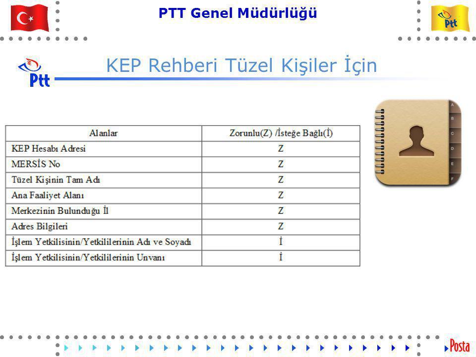 41 PTT Genel Müdürlüğü Teknik İşler ve Otomasyon Dairesi Başkanlığı KEP Rehberi Tüzel Kişiler İçin